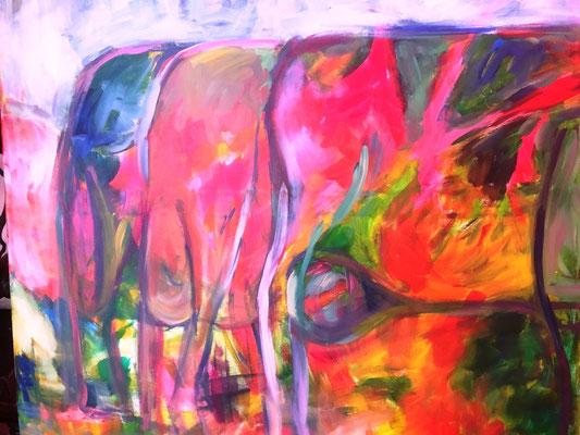 Kühe, 100x100 cm, Acryl