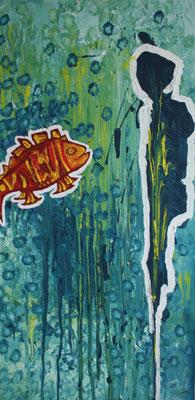 """""""Under the sea"""" 130 x 45 cm, Acryl auf Holz"""