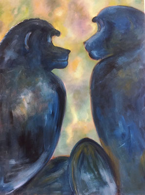 Zwiegespräch, 80x60 cm, Acryl