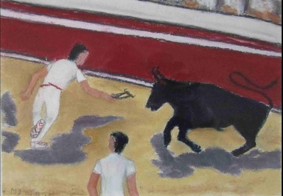 Courses camarguaises in Sommières, 24 X 17 cm, Pastell Kreide