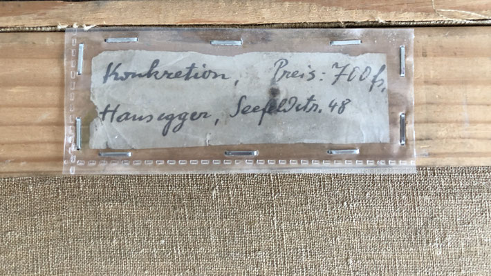 Konkretion, 1944, originale Künstleretikette