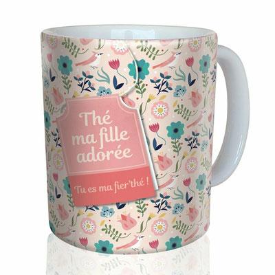 """<FONT size=""""5pt"""">Mug """"Fille adorée"""" - <B>12,00 €</B> </FONT>"""