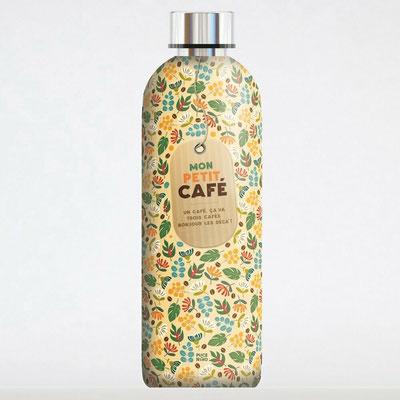 """<FONT size=""""5pt"""">Bouteille Isotherme """"Mon petit café"""" 50cl - <B>20,00 €</B> </FONT>"""