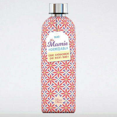 """<FONT size=""""5pt"""">Bouteille Isotherme """"Mamie formidable"""" 50cl - <B>20,00 €</B> </FONT>"""