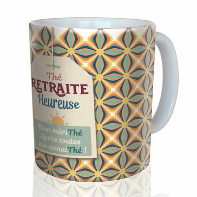 "<FONT size=""5pt"">Mug ""Retraite Heureuse"" - <B>12,00 €</B> </FONT>"