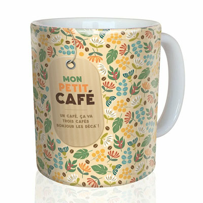 """<FONT size=""""5pt"""">Mug """"Mon petit café"""" - <B>12,00 €</B> </FONT>"""