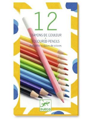 """<FONT size=""""5pt"""">12 Crayons de couleur Djeco - <B>6,00 €</B> </FONT>"""