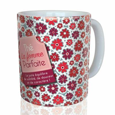 """<FONT size=""""5pt"""">Mug """"La Femme Parfaite"""" - <B>12,00 €</B> </FONT>"""
