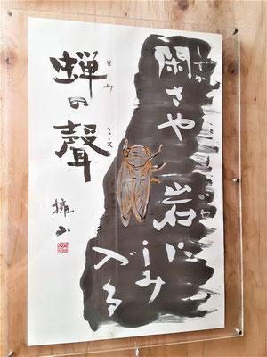 天朗庵の入口の作品「蝉」2020年7月
