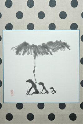 蓮蛙図(水墨画、軸)/加藤康久