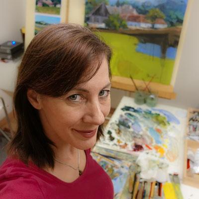 Silvia Pollak-Parzer im Maleratelier