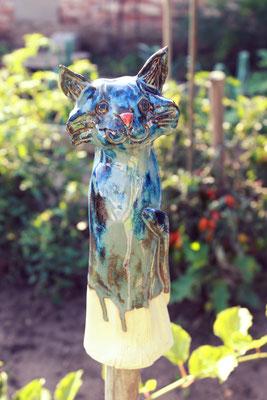 Keramik-Katze blau glasiert