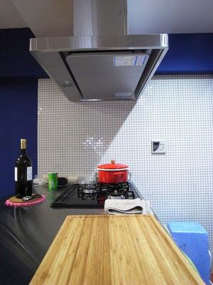 マンション リノベーション キッチンのモザイクタイル