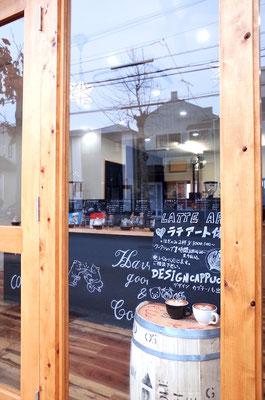 珈琲焙煎店のガラス切文字