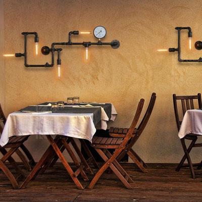 lampada + idraulici +applique +vintage +retrò +industriale +parete +tubi +sandroshop +vendita +online