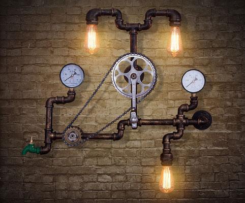 applique +vintage +lampada +industriale +stile +urbano +loft +pub +tubi +raccordi +idraulici +Steampunk