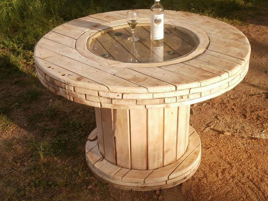 tavolino +riciclo +bobina legno +esterni +sandro +shop +online +shopping +vendita +pallet +arredo giardino