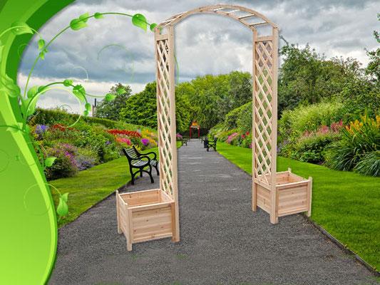 arco #legno #grigliato #fioriere #abete #giardino