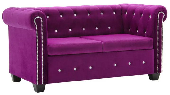 divano #chesterfield #velluto viola #due #posti
