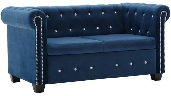 divano #chesterfield #velluto blu #due #posti