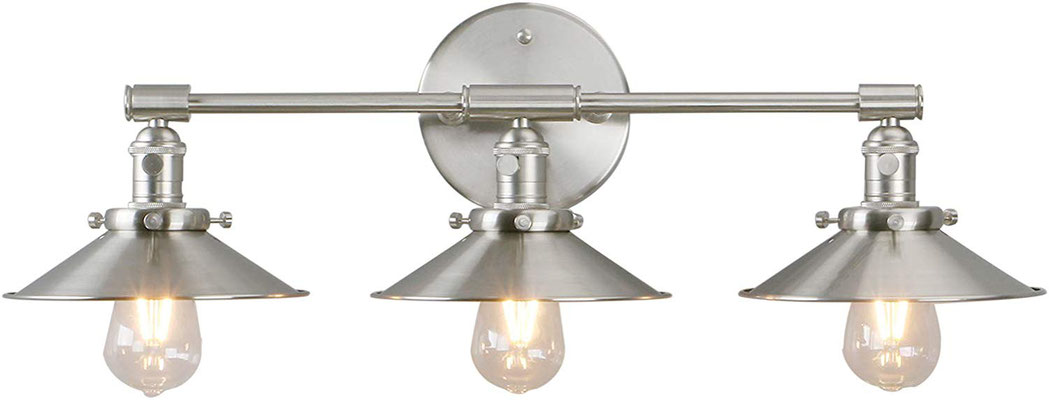 plafoniera #lampada #applique #muro #acciaio #satinato #vintage #industriale #3 lampadine