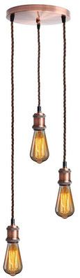 lampadario #3 luci #tre #lampadine #vintage #pendente #rame