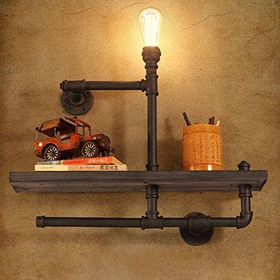 mensola +ripiani +legno +vintage +lampada +industriale +stile +urbano +loft +pub +tubi +raccordi +idraulici +Steampunk
