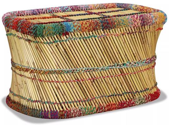 tavolino +bambù +chindi +multicolore