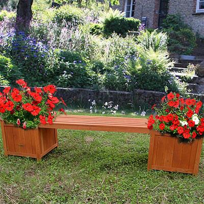 panca +legno +fioriera +trattato +giardino