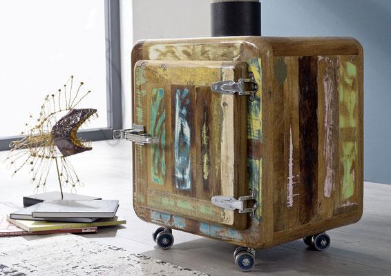 mobiletto +contenitore +legno +riciclato +frigo +vintage +anticato +multicolore