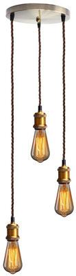 lampadario #industriale #moderno #ottone #bronzo #lampadine #tre #3