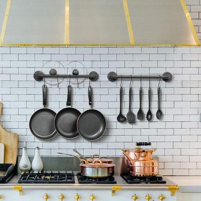 barra #tubo #idraulico #porta #piatti #mestoli #posate #cucina #vintage