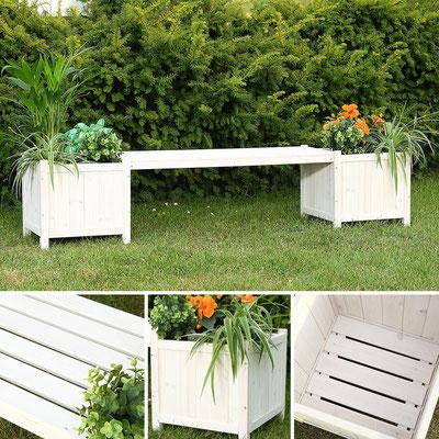 panca +legno +fioriera +trattato +giardino +bianca