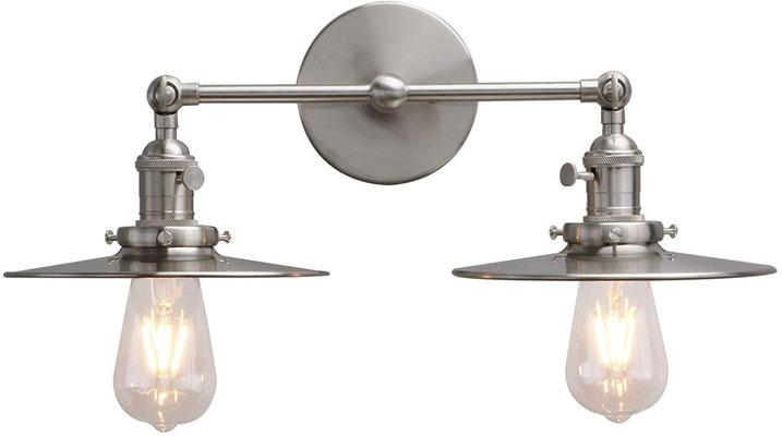 plafoniera #lampada #applique #muro #acciaio #vintage #industriale #2 lampadine
