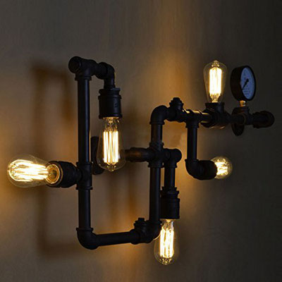 lampada + idraulici +applique +vintage +retrò +industriale +parete +tubi +sandroshop +vendita +online +nera