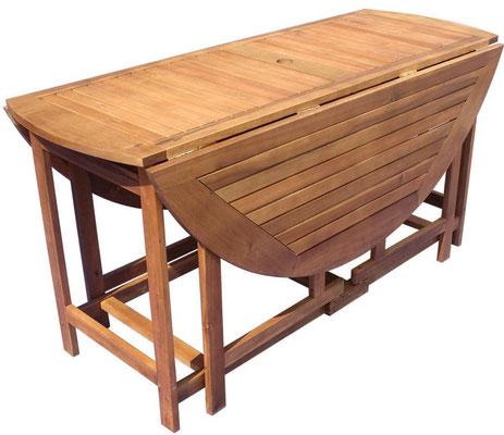 tavolo +esterno +giardino +acacia +legno +rotondo +pieghevole +outdoor