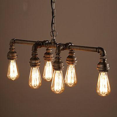 lampadario +edison +vintage +lampada +industriale +stile +urbano +loft +pub +tubi +raccordi +idraulici +Steampunk