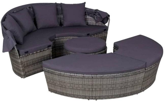 divano giardino #lettino #tondo #cupola #polirattan #grigio #sandroshop