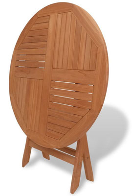 tavolo +legno +teak +oliato +rotondo +esterno +pieghevole +arredo +giardino