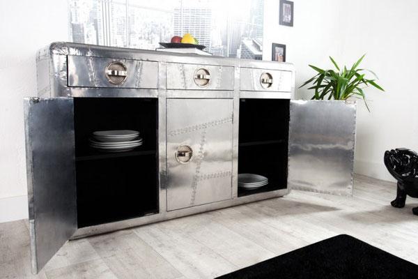 credenza mobile cassettiera alluminio stile industriale