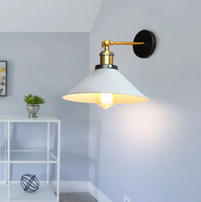 lampada a parete +vintage +industriale +ottone #bianca +sandroshop