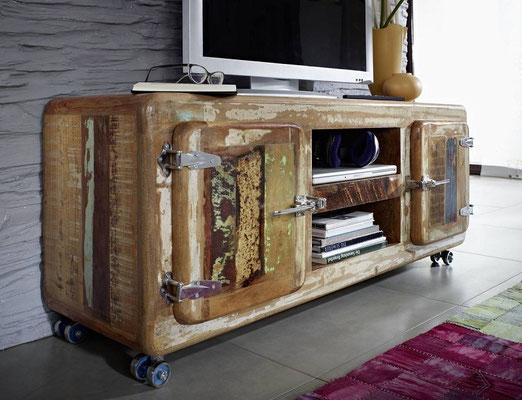 porta TV +porta +televisione +mobile +legno +recupero +etnico +riciclato +multicolore +televisore