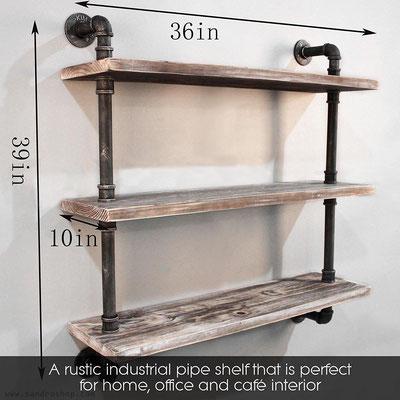mensole +tubi +idraulici +3 +stile +industriale +pollice +ripiani +legno +massello