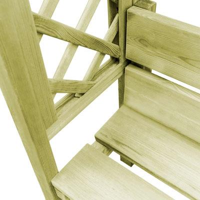pergolato #panchina #legno #trattato #autoclave #panca #riparata #tetto
