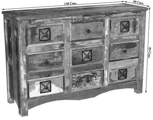 cassettiera +comò +legno +riciclato +etnico +recupero