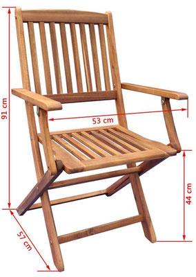 sedia acacia +arredo giardino +sandro shop +online