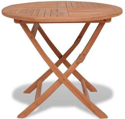 tavolo +legno +teak +oliato +tondo +esterno +pieghevole +arredo +giardino