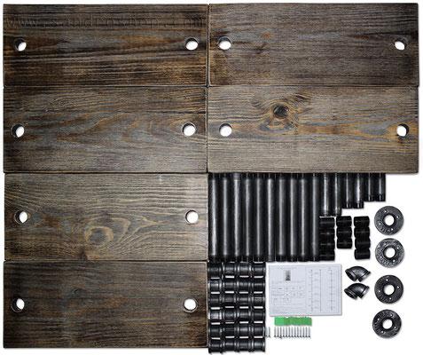 Scaffale +mensole +tubi +idraulici +3 +stile +industriale +pollice +ripiani +legno +massello +progetto