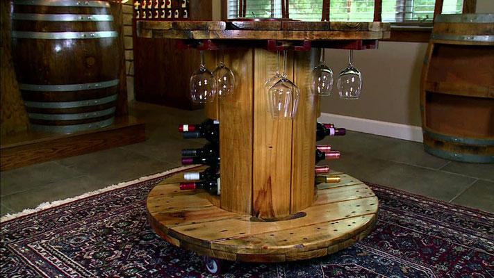 tavolino +riciclo +bobina legno +esterni +sandro +shop +online +shopping +vendita +pallet +arredo giardino +bottiglie +bicchieri +bar
