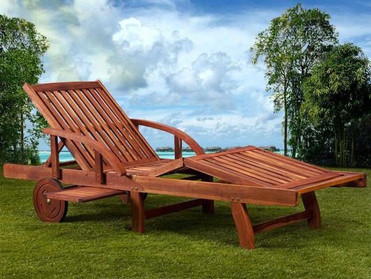 lettino legno +acacia +ruote +arredo +garden +mobili da giardino